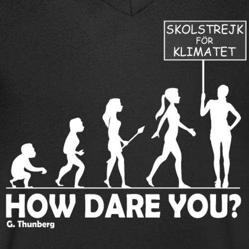 Fridays for Future - FFF - SKOLSTREJK FÖR KLIMATET - Männer Bio-T-Shirt mit V-Ausschnitt von Stanley & Stella