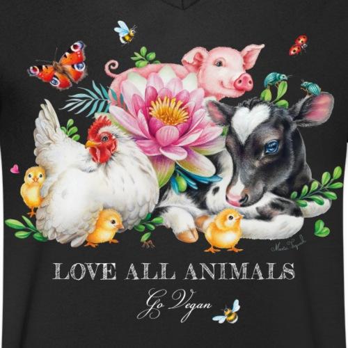 Love animals white text - Mannen bio T-shirt met V-hals van Stanley & Stella