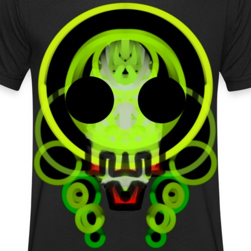 dead skull of loops of green light - Men's Organic V-Neck T-Shirt by Stanley & Stella