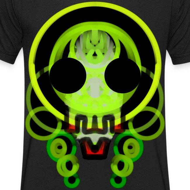 dead skull of loops of green light