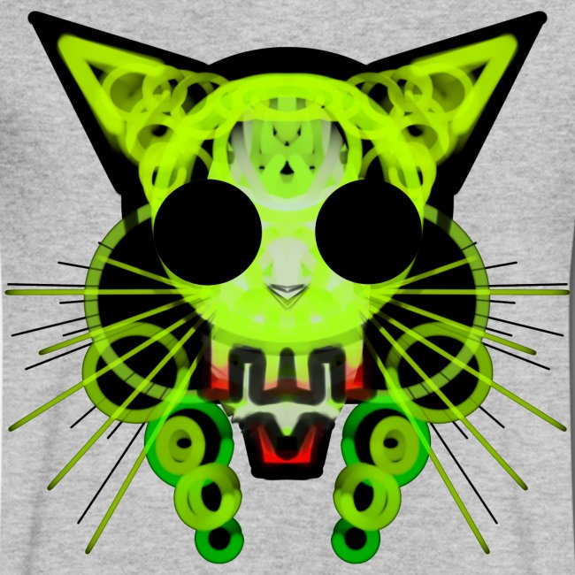 cat skeleton skull light green in deep black