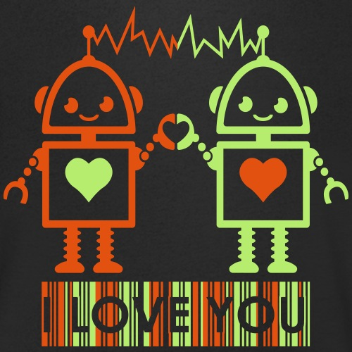 Robot Couple - Men's Organic V-Neck T-Shirt by Stanley & Stella