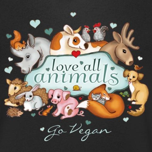 love all animals - go vegan - Mannen bio T-shirt met V-hals van Stanley & Stella
