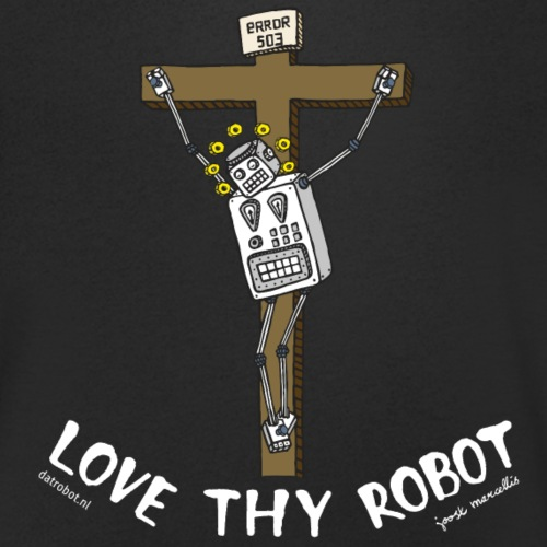 Dat Robot: Love Thy Robot Jesus Dark - Mannen bio T-shirt met V-hals van Stanley & Stella