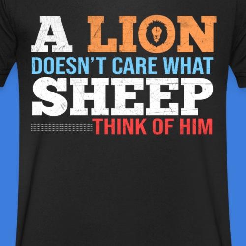 Einen Löwen interessiert nicht, was Schafe denken - Männer Bio-T-Shirt mit V-Ausschnitt von Stanley & Stella