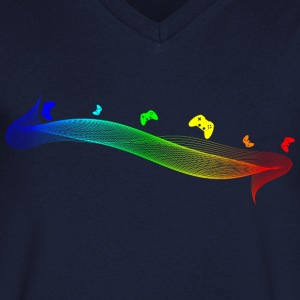 Gamepad Spectrum by JuiceMan Benji - Men's V-Neck T-Shirt