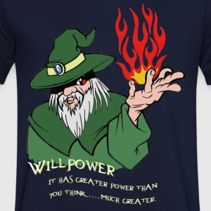 Willpower Wizard Green/Red Flame - Mannen T-shirt met V-hals