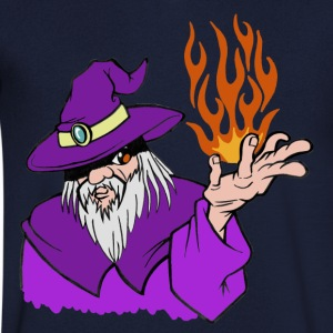 Willpower Wizard Purple / Red / Orange Flame - No Text - Men's V-Neck T-Shirt