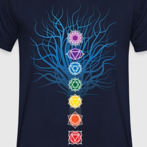 7 chakras on Tree - Men's V-Neck T-Shirt