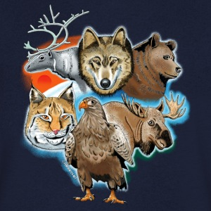 10 01 Wild life - Wolf, reindeer, bear, lynx, eagle - Men's V-Neck T-Shirt