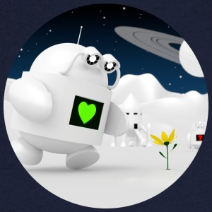 Cute robot finds flowers - Men's V-Neck T-Shirt