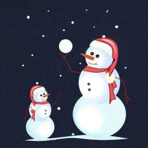 Santa, snowman, playing his son - Men's V-Neck T-Shirt