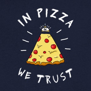 In pizza we Trust Illumination Pyramid Eye Humor - Men's V-Neck T-Shirt