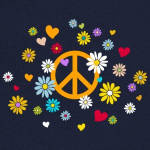 Peace Sign Flower Heart Flower Child Valentine - Herre T-shirt med V-udskæring