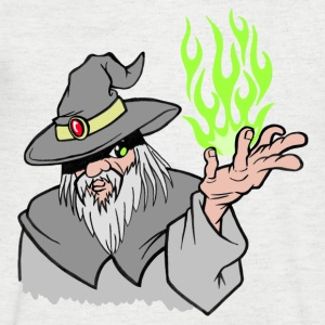 Willpower Wizard Grey / Green Flame - No Text - Men's V-Neck T-Shirt