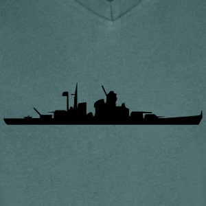 Vector Navy warship Silhouette - Men's V-Neck T-Shirt
