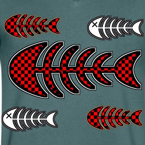 fisk ben, skelett med rutor och kryss för öga - Men's Organic V-Neck T-Shirt by Stanley & Stella