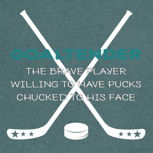 Hockey: Goaltender - The Brave player Willing - Men's V-Neck T-Shirt
