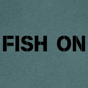 fish on black writing - Men's V-Neck T-Shirt