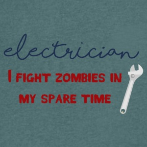 Electrician: Electrician - I fight zombies in my sp - Men's V-Neck T-Shirt