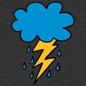 Cloud, flash, raindrop, weather, spring, rain, fun - Men's V-Neck T-Shirt