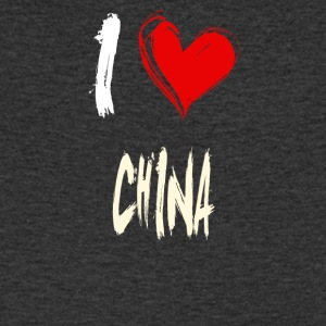 I love China - Mannen T-shirt met V-hals