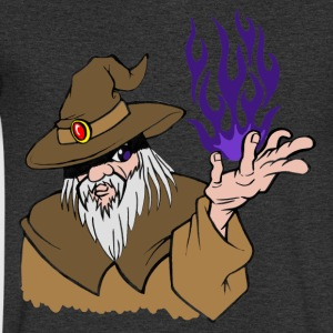 Willpower Wizard Brown / Dark Purple Flame - No Text - Men's V-Neck T-Shirt
