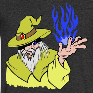 Willpower Wizard Yellow/Dark Blue Flame - No Text - Mannen T-shirt met V-hals
