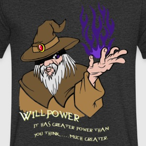 Willpower Wizard Brown/Dark Purple Flame - Mannen T-shirt met V-hals