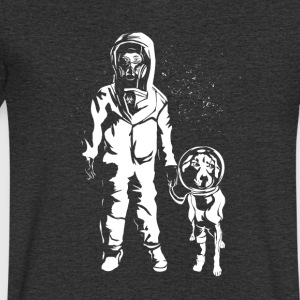 Space Women with dog - Men's V-Neck T-Shirt
