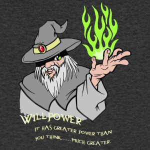 Willpower Wizard Grey/Green Flame - Mannen T-shirt met V-hals