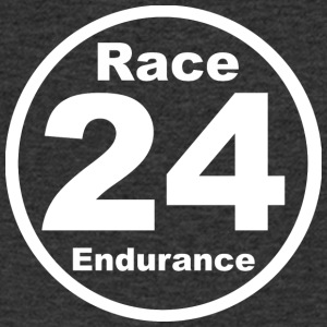 Race24 round logo white - Men's V-Neck T-Shirt