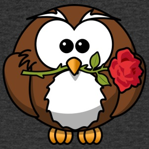 Sweet enamored owl with rose comic style - Men's V-Neck T-Shirt