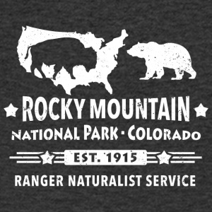 Bison Grizzly Rocky Mountain National Park Berg - T-shirt med v-ringning herr