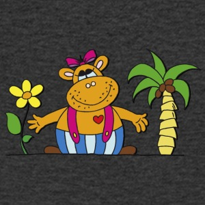 funny hippo with sunflower Hippo Hippo - Men's V-Neck T-Shirt