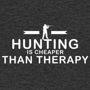 Hunting is cheaper than therapy - Men's V-Neck T-Shirt