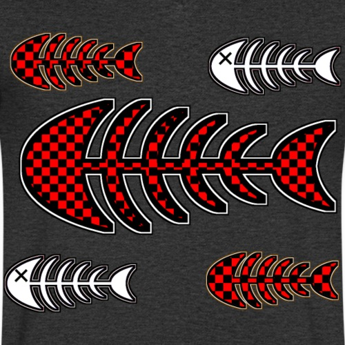 fish bones, skeleton with squares and cross to eye - Men's Organic V-Neck T-Shirt by Stanley & Stella