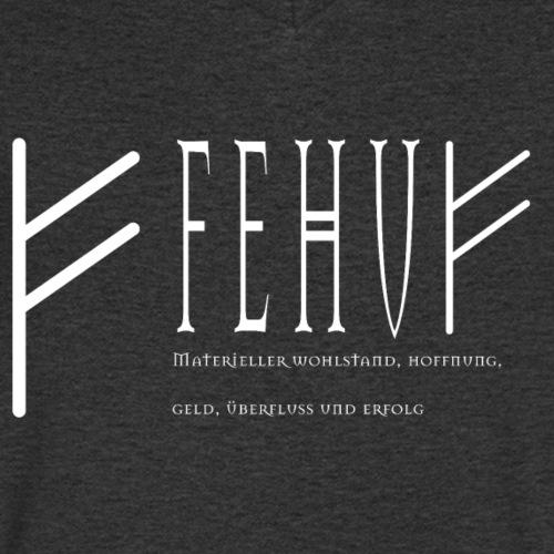Runen - Fehu - Schriftzug Weiß - Männer Bio-T-Shirt mit V-Ausschnitt von Stanley & Stella