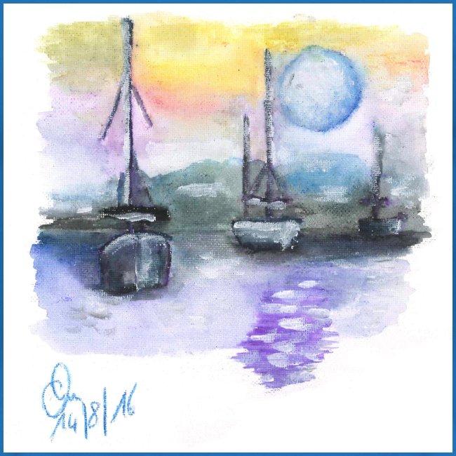 Boote in der Nacht