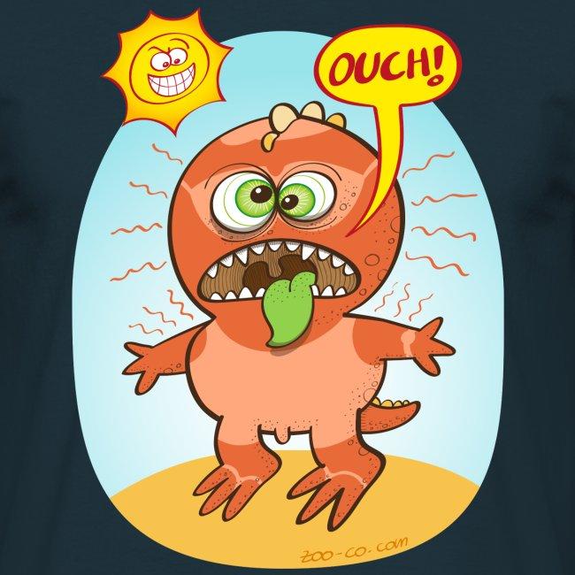 Bad summer sunburn for a funny dinosaur