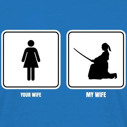 my wife aikido fondos oscuros - Camiseta hombre