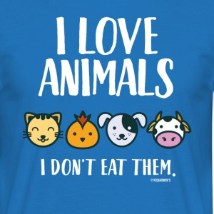 I Love Animals T-Shirt for Vegans and Vegetarians - Men's T-Shirt