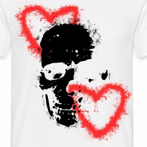 Totenschädel Herzen Liebe Geschenk Idee 2 - Männer T-Shirt