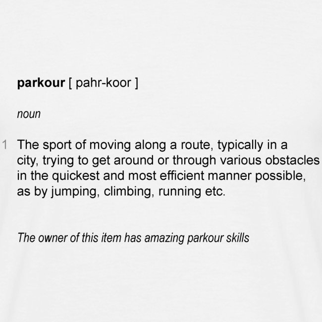 parkour dictionay