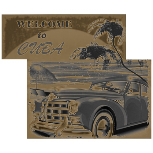 benvenuti a Cuba vecchia macchina vintage retrò - Maglietta da uomo