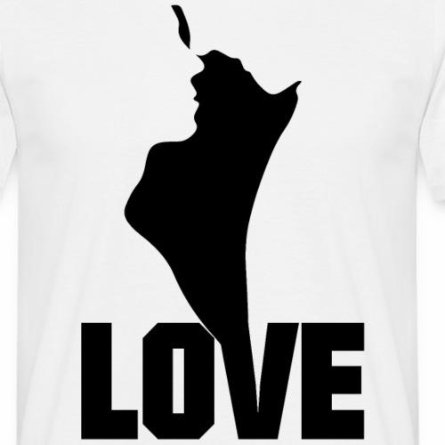 LOVE Pärchen Mann Frau Geschenkideen Silhuette - Männer T-Shirt