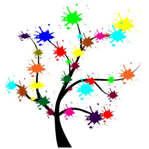 albero nero colori natura cartoni animati - Maglietta da uomo