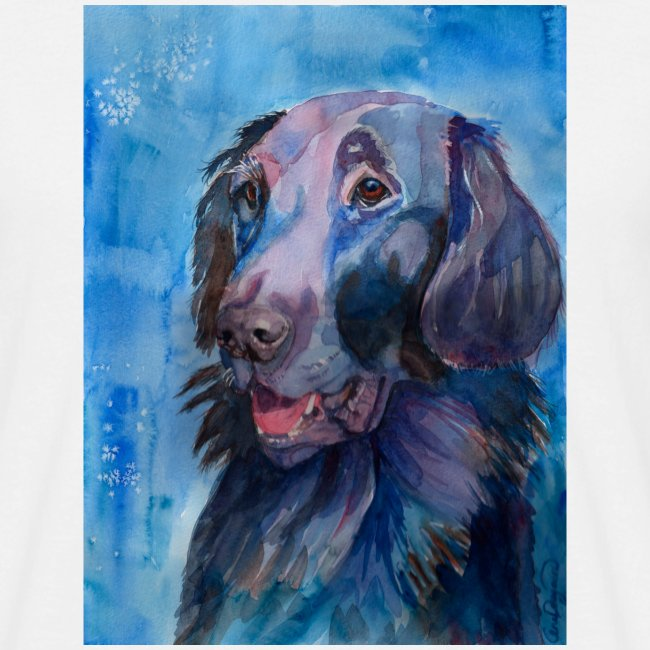 flatcoated retriever - watercolor