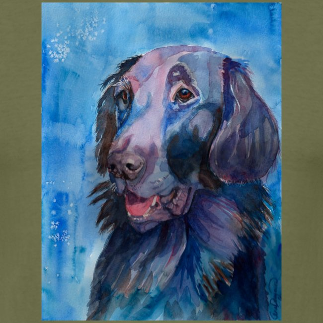 flatcoated retriever - watercolor