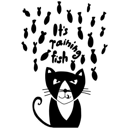 lustige freche Katze. Es regnet Fische Haustier - Männer T-Shirt